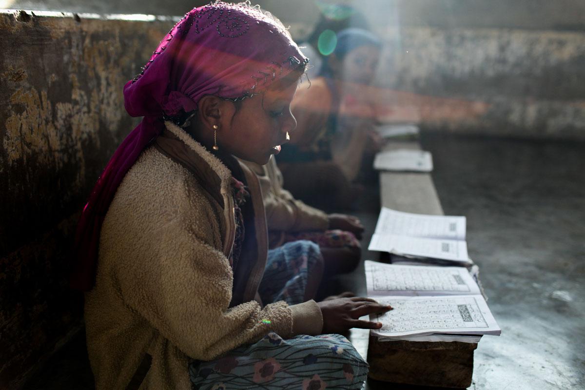 Rohingya girl in Madrassa, Islamic school, Sitwe, Myanmar
