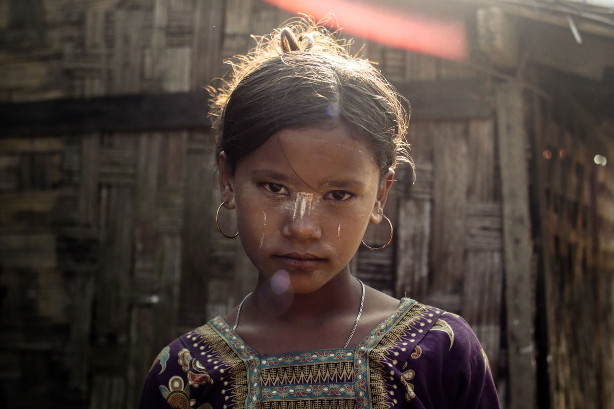 Rohingya girl inside the internally displaced persons camp, Myanmar